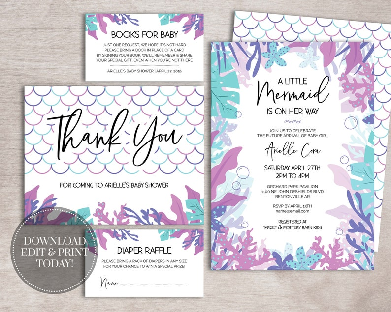 photograph relating to Printable Mermaid Baby Shower Invitations identify PRINTABLE Mermaid Kid Shower Invitation Pack Instantaneous Down load // Underneath the Sea