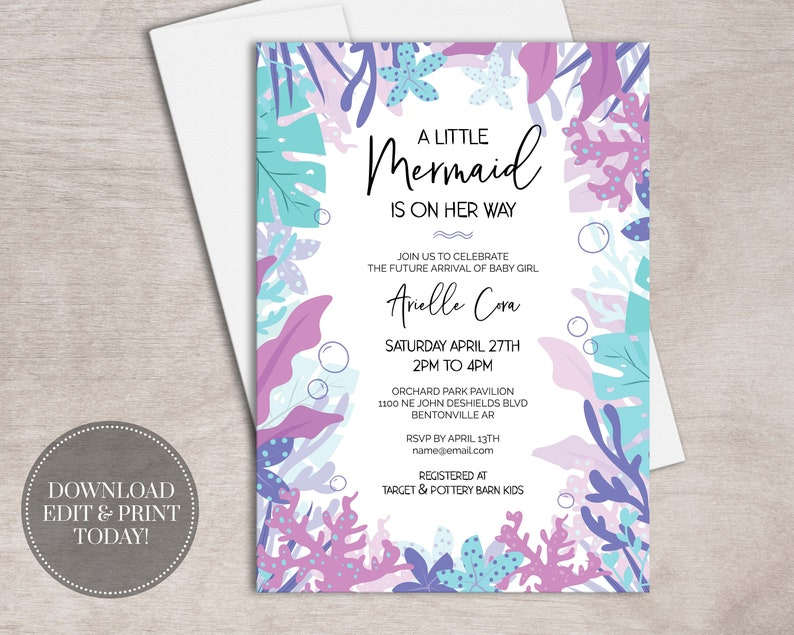 graphic relating to Printable Mermaid Baby Shower Invitations identified as PRINTABLE Mermaid Little one Shower Invitation Woman Immediate Obtain // Down below the Sea