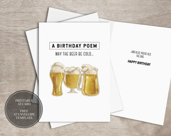 PRINTABLE Funny Birthday Card INSTANT DOWNLOAD Digital Beer