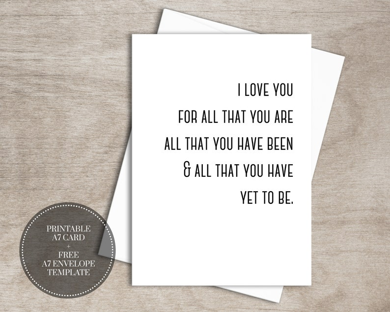 picture about Free Printable Anniversary Cards for Him referred to as PRINTABLE Anniversary Card for Spouse Instantaneous Obtain // I Take pleasure in By yourself