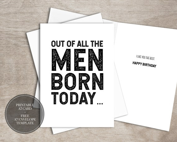 picture about Free Printable Funny Birthday Cards for Adults called PRINTABLE Amusing Birthday Card Immediate Obtain Birthday Playing cards, Greeting Card for Him, Least complicated Mate Present for Guys, Items for Males