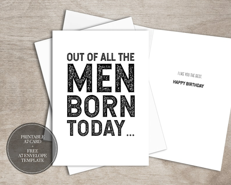 PRINTABLE Funny Birthday Card INSTANT DOWNLOAD Cards Greeting For Him Best Friend Gift Men Gifts