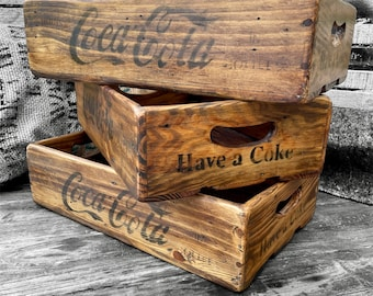 """Wooden slatted """"Coca Cola"""" crate vintage style """"Coke crate"""" x1 rustic Wooden box"""