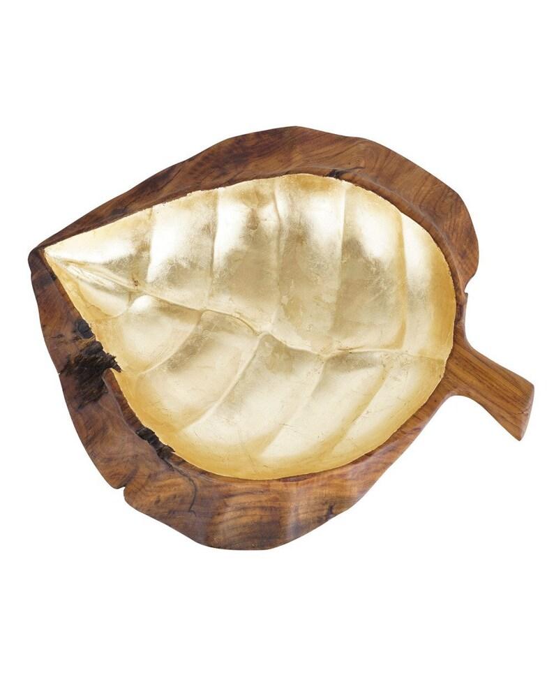 Grand bol de fruits en bois en teck massif Gilles avec la main feuille d'or sculptée dans la racine de teck.