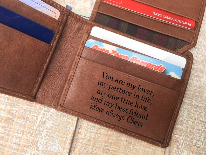 Personalized Engraved Gifts Anniversary Husband Him, Leather Wallet For Men