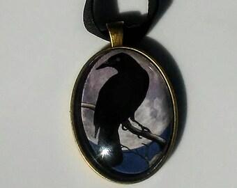 crow moon pendant necklace