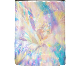 Fairy Shower Curtain Girly Curtains Glittery Girls Princess Decor Rainbow Pink