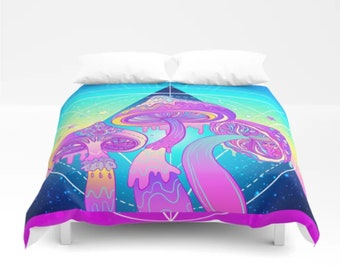 Magic Mushrooms Comforter Or Duvet Cover Sacred Geometry Bedding Trippy Psychadelic Psychedelic