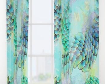 Mermaid Watercolor Window Curtain Blue Drapery Panels Aqua Treatment Ocean Curtains Decor Unique