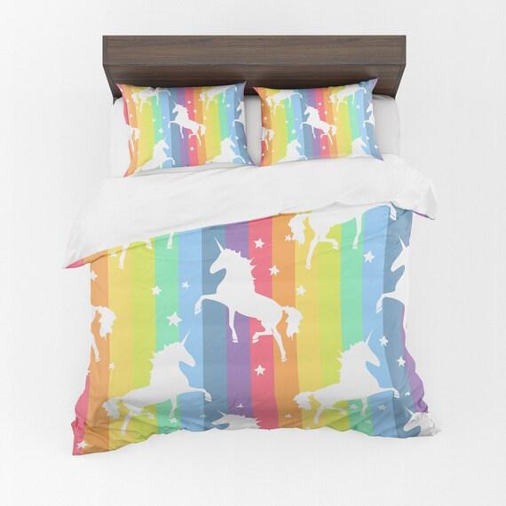 Rainbow Unicorn Comforter Or Duvet Cover Unicorn Bedding Etsy