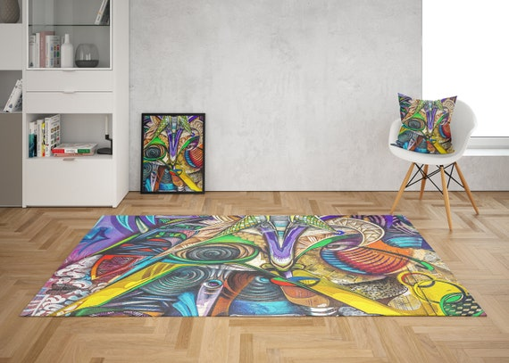 Graffiti Area Rug colorful rugs grafiti rug unique rug abstract art rug african