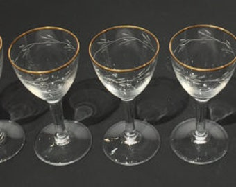 Cordial Crystal Stemware Set (6) with Gold Trim, Crystal Cordial Glasses Set of 6, Mid Century Floral Etched Crystal Stemware Cordial Set