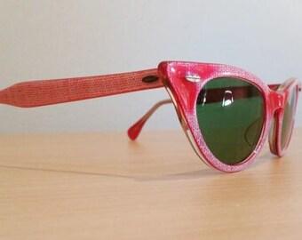 New Old Stock, Vintage Small Titmus Cabana TS 2250 Red Cateye Sunglasses, 1950s Titmus Cat Eye Sunglasses