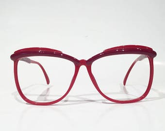 Mod Vintage 80s Large Glasses Frames, Red with Burgundy Browline Accents, Large Square Eyeglasses, Red Oversized Disco Funky Sunglasses