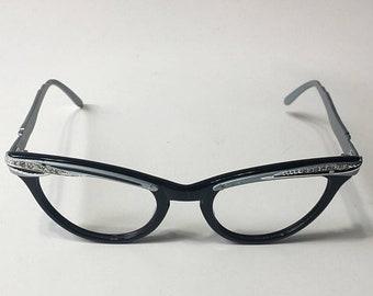 b8b4e90eeb39 Vintage 60s Eyeglasses Black Silver Aluminum Cat Eye Glasses