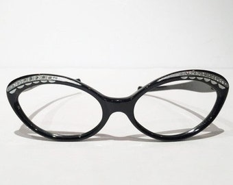 Vintage Black Silver Rhinestones Cateye Glasses Frames, 50s Cat Eye Glasses, New Old Stock, Black and Silver with Rhinestones Sunglasses