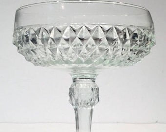 Diamond Glass Compote, Clear Glass Pedestal Bowl, Pedestal Candy Dish, Indiana Diamond Point