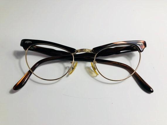 Vintage 50s Dark Brown Browline Cat Eye Glasses Frames Brown | Etsy