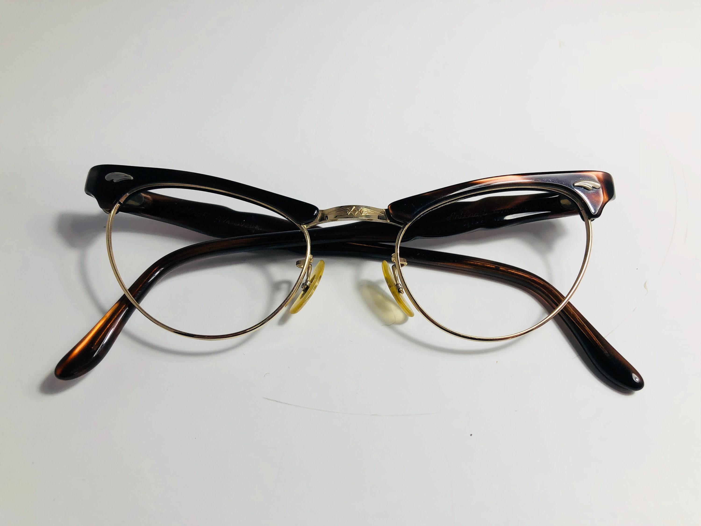 51969f616077c Vintage 50s Dark Brown Browline Cat Eye Glasses Frames Brown