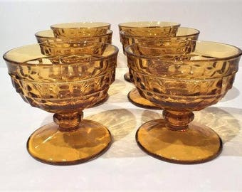 Amber Whitehall Sherbet Glasses, Set of 6, Colony Whitehall Champagne Coupes, Amber Glass Dessert Cups, Vintage Glass Sherbet Cups