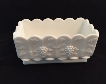 Westmoreland Milk Glass Planter, Paneled Grape Scalloped Rim Milk Glass Planter, Westmoreland Paneled Grape Planter, Milk Glass Jardiniere
