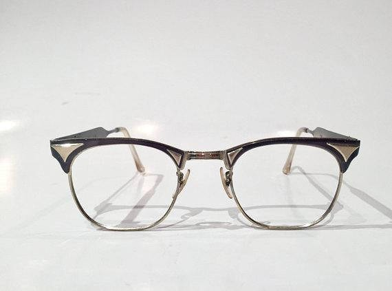 e9800f8b74f Vintage NOS 50s Black Silver Aluminum Cat Eye Glasses Frames