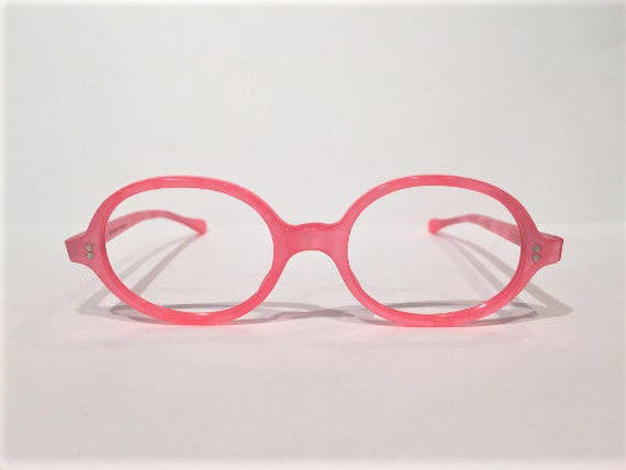82930d0160b Pink Round Eyeglasses Frames New Old Stock 60s Oval Pink
