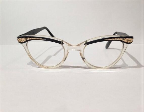 4d556c105c7e 60s Aluminum Black Gold Etched Cat Eye Glasses 50s Vintage