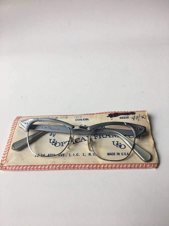 bfd9c673635f Vintage Silver Gray Aluminum Etched Cat Eye NOS Glasses