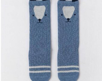 Knee-High Socks - Cornflower Bear