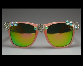One Of A Kind, Pink, Rhinestone Bling, Mirrored Lenses, Sunglasses