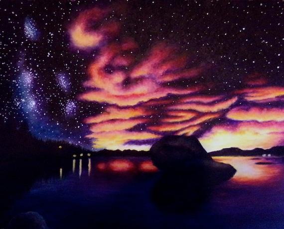 Sunset Artwork Oil Pastel