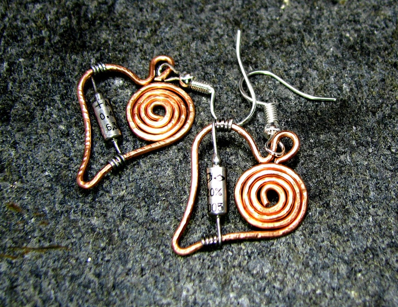 Electronic Parts Earrings Geek Wired Jewelry Vintage USSR transistor copper wire Earrings Recycled Hardware Spiral copper wire