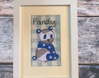 Personalised free-motion embroidery Panda toy textile art picture