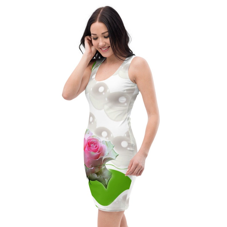 Sublimation Cut /& Sew Dress White Pink Rose With Pearls....AprAlexander