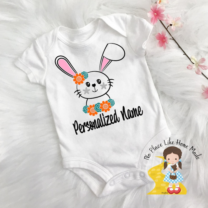 Baby Infant Forest Animal Girl Newborn Personalized Name Cute Bodysuit Personalized Bunny Rabbit