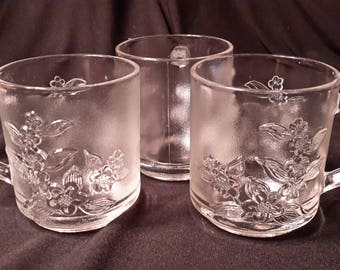 Frosted clear glass punch cups