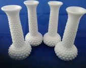 Set of 4 matching E O Brody white hobnail milk glass vase from the 1960s. Milk Glass 60