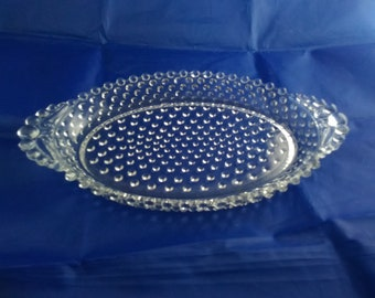 Great Condition  1950/'s  FREE SHIPPING Depression Glass Candlewick Oval Bowl  Two Handled Divided Crystal  Imperial Glass Co