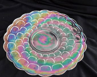 Carnival glass lenticular bubble cake plate