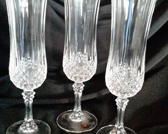 Vintage lead crystal champagne flutes by Cristal d'arqes