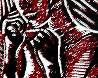 Iron Fist in a Velvet Glove - Linoleum Block Print