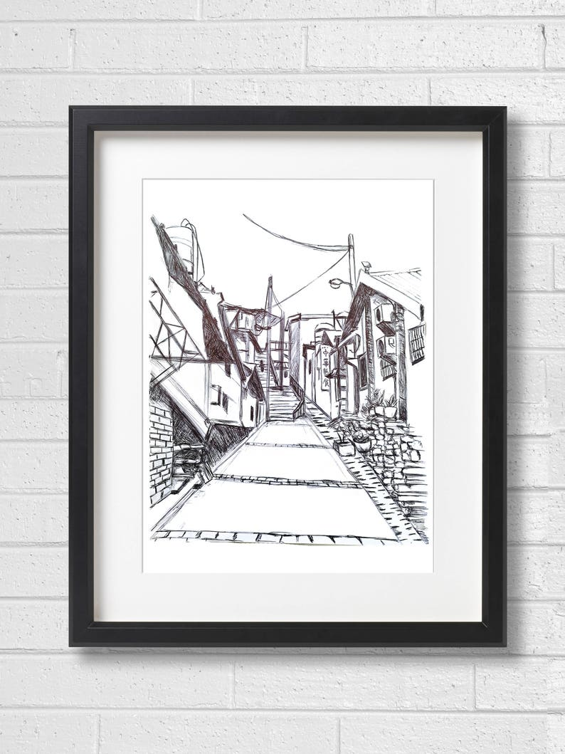 Taiwan taipei scenery sketch wall art decor sketch printable art instant digital download