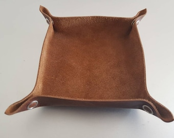 Brown Leather Tabletop Token Tray