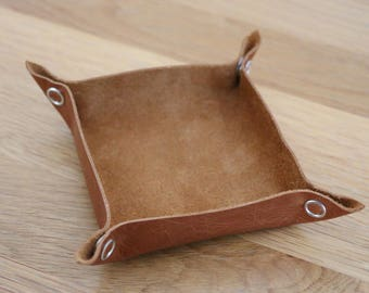 Tan Leather Tabletop Token Tray