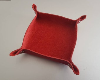 Red Leather Tabletop Token Tray