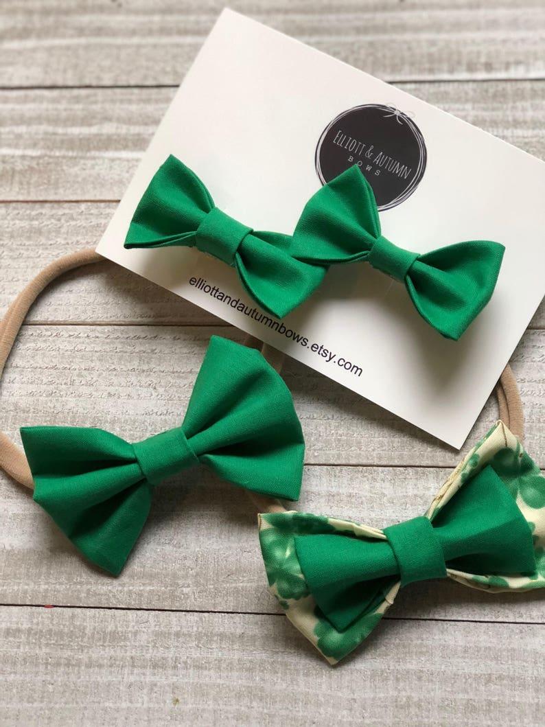 handmade clip baby girl clip baby girl headband green bow fabric bow toddler clip newborn bow toddler barrette bow barrette