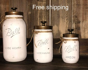 3 Piece Rustic Distressed Mason Jar Kitchen Canister Set. Free Shipping!  (Limited Time)
