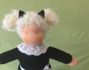 Black cat waldorf doll, Stoffpuppe