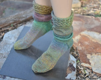 Cable Cuff Socks Forest Green